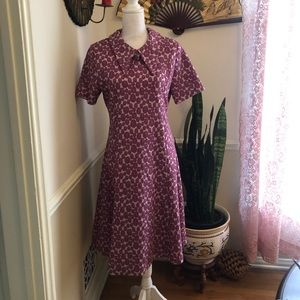 50s-60s Atomic Era Vintage Purple Olive Dress